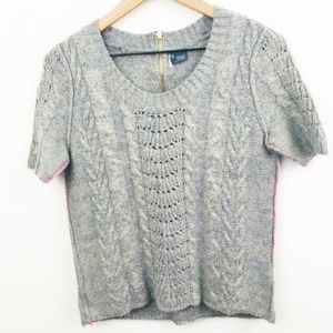Sparkle & Fade Gray Short Sleeve Knit Sweater